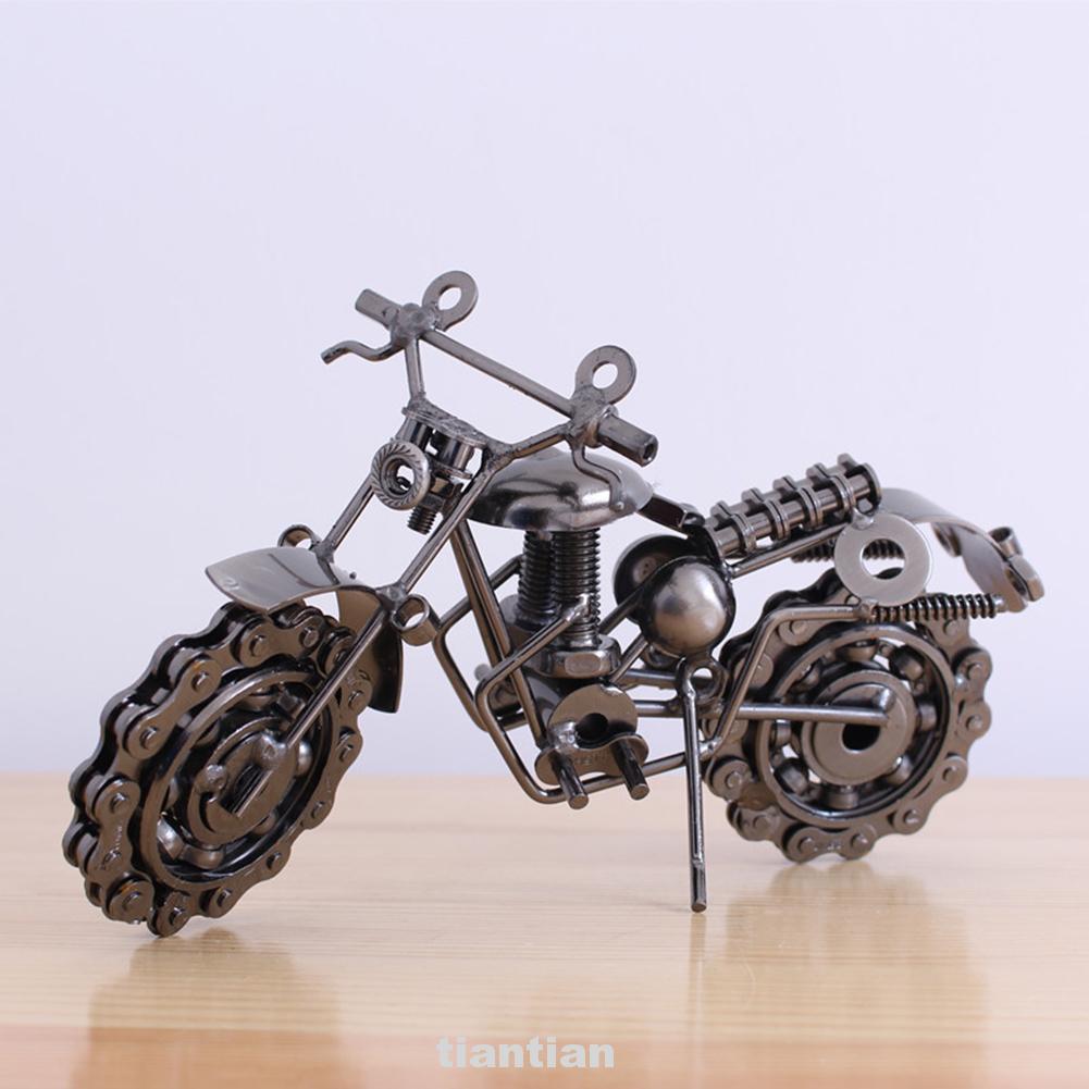 Desktop Home Decor Craft Portable Collection Birthday Gift Figurine Retro Iron Motorcycle Model