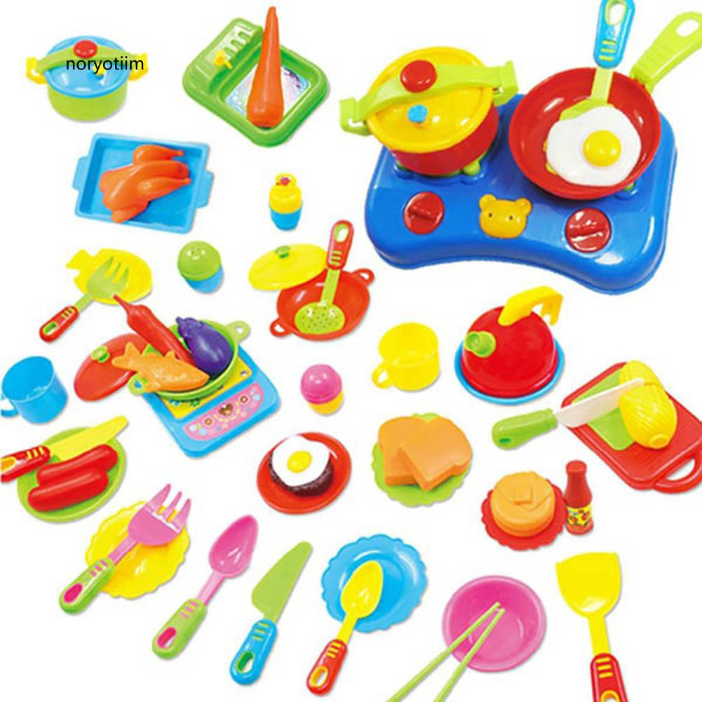 NYTM_60Pcs Educational Pretend Play Kitchen Ware Set Plastic Cooking Dishes Food Toy