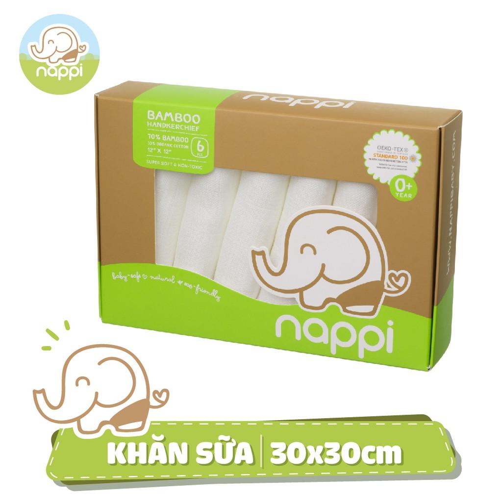 Khăn sữa sợi tre Nappi (6 chiếc/ hộp)