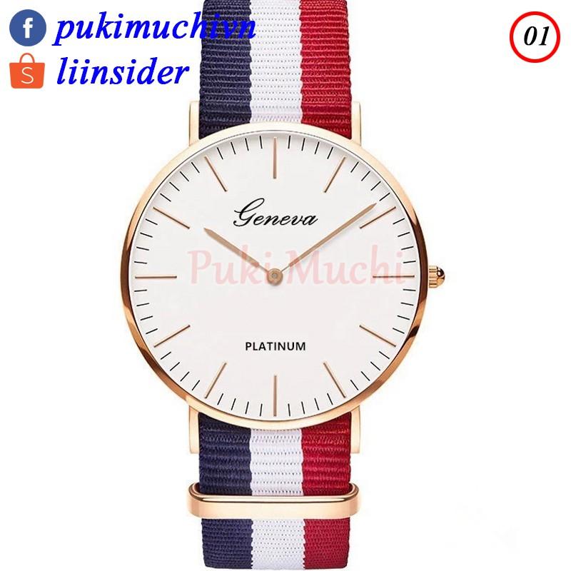 Đồng hồ đeo tay Nam - Nữ Geneva-089 2 kim dây vải sọc nhiều màu