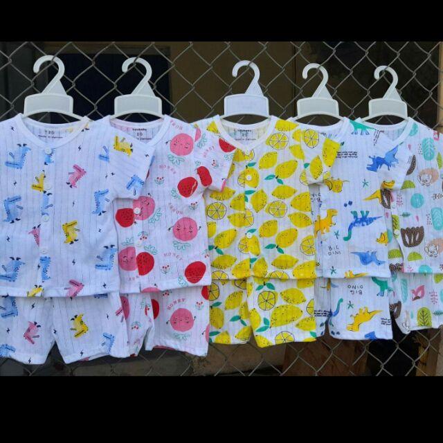 Bộ cotton giấy cộc tay cho bé trai/bé gái - Vải Quảng Châu