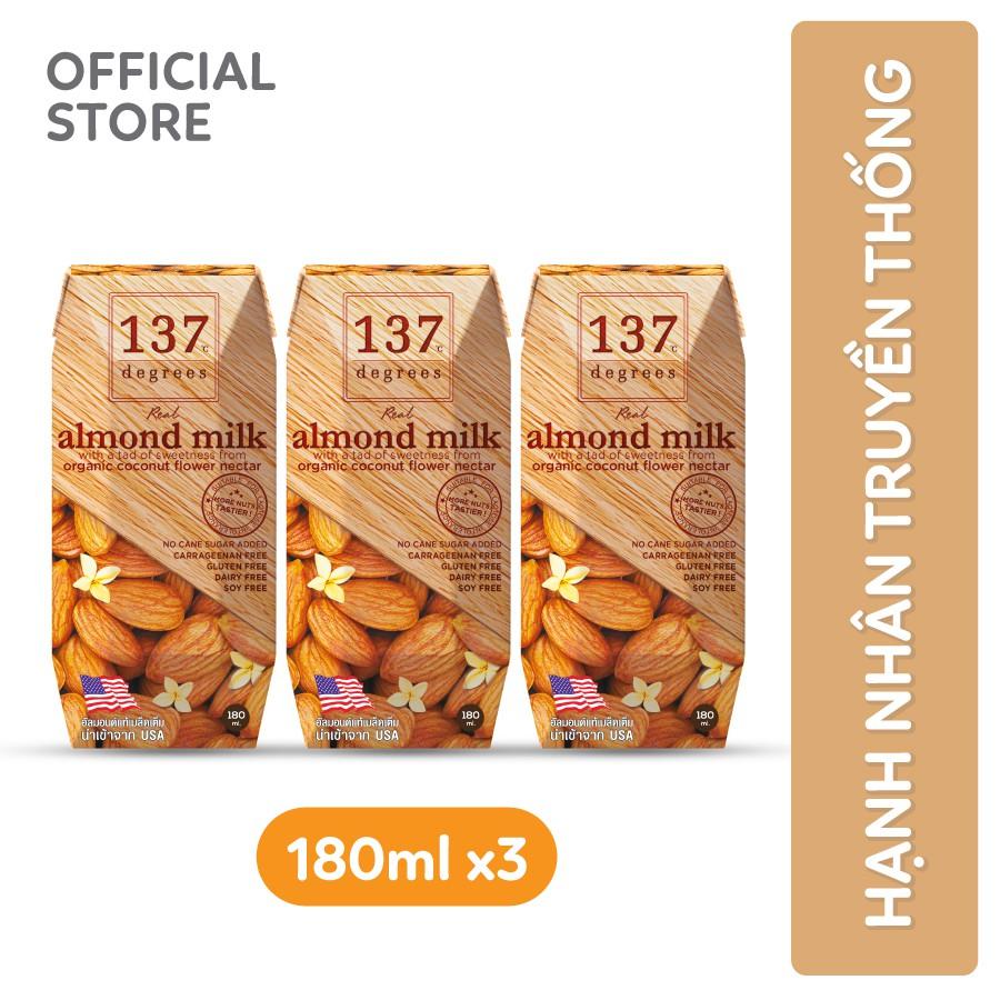 Sữa hạt Hạnh nhân Nguyên Chất 137 DEGREES 180ml (Lốc 3 hộp)