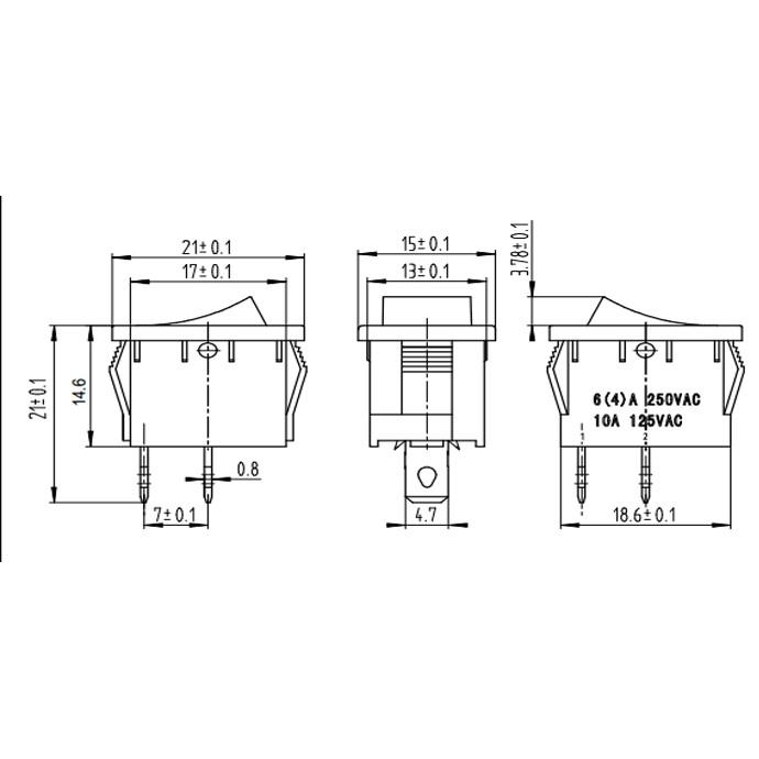 Công Tắt Bập Bênh KCD1-101 2P - 250V 6A