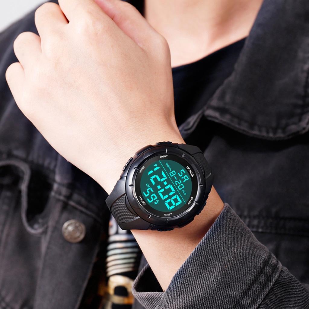นาฬิกาดิจิตอล LED ผู้ชายกีฬาอิเล็กทรอนิกส์