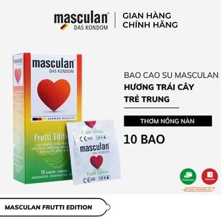 Bao cao su Đức Masculan Frutti Edition – Hương hoa quả (Táo, Dâu tây, Hoa quả nhiệt đới) – Hộp 10 bao