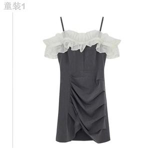 △Mùa hè 2021 Teng Yujia váy cổ treo một chữ thiết kế của phụ nữ cảm giác thích hợp eo khí chất tích