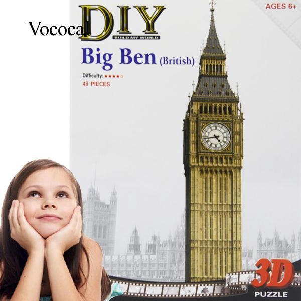 Vococal DIY 3D Paper Puzzle Big Ben Model Educational Children Toy Home Office Decoration Large Size 52cm Height 48Pcs