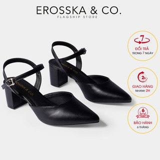 Giày cao gót Erosska thời trang mũi nhọn phối dây hở gót cao 5cm màu đen _ EK001