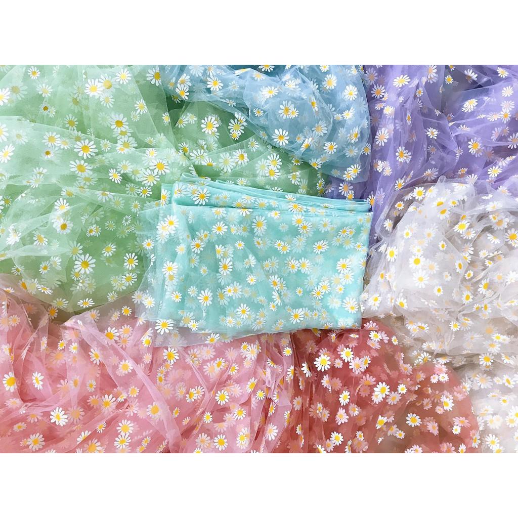 Vải lưới in hình hoa cúc làm phụ kiện dây buộc tóc scrunchies khổ 50x50cm- 1m6