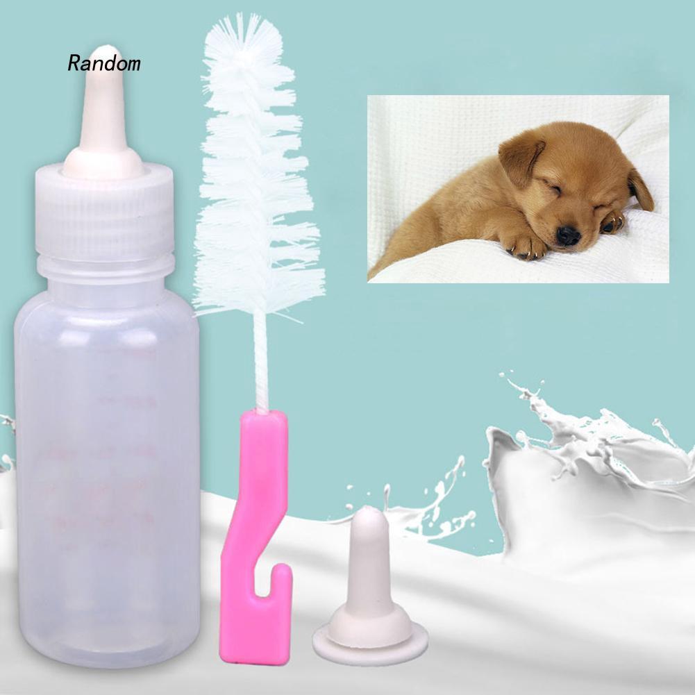 [RA]Pet Cat Dog Baby Animal Nursing Feeding Milk Bottle with Spare Nipple and Brush
