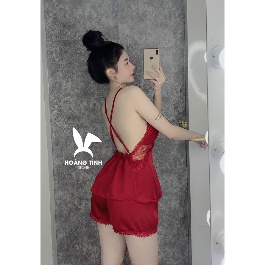 Mặc gì đẹp: Ngủ ngon hơn với Đồ ngủ sexy đồ ngủ 2 dây chéo lưng phối ren Hoàng Tình Store, chất liệu lụa satin, freesize 40-60kg tùy chiều cao