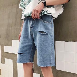 Ins siêu lửa quần mùa hè phần mỏng quần short denim nam Slim lỗ ăn xin năm