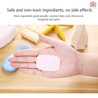 Hộp 20 xà phòng giấy mini có mùi hương dùng 1 lần kèm hộp đựng tiện lợi khi đi du lịch thumbnail