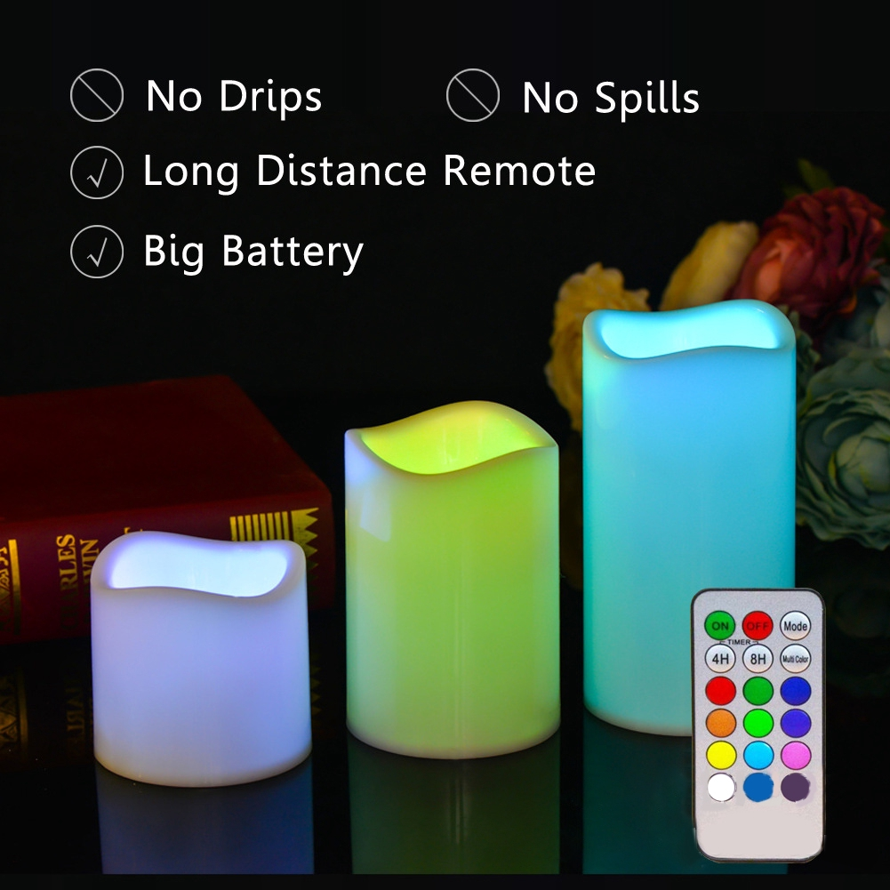 Timing Remote Control Party Simulation Candle Color Changing Led Electronic Night Light Wedding Supplies Bedroom