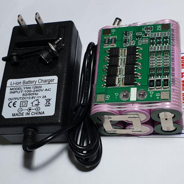 Pin 3s - 12v - 5.2a - mạch 25a - cell Hồng 18650 - 2600mah - xả 10c