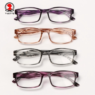 YVETTE Unisex Optical Spectacle Diopter + 1.0 + 4.0 Presbyopic Eyewear Reading Glasses Printed Frame Fashion Far Sight UltraLight Relieve Visual Fatigue black/pink/purple