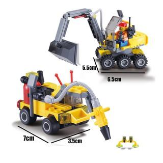 Lego bộ đôi xe công trình: xe cần cẩu và xe khoan