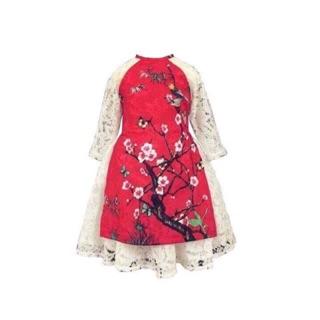 Sét áo dài gấm 3 chi tiết bé gái gồm áo dài , chân váy 2 lớp và mấn 1 màu