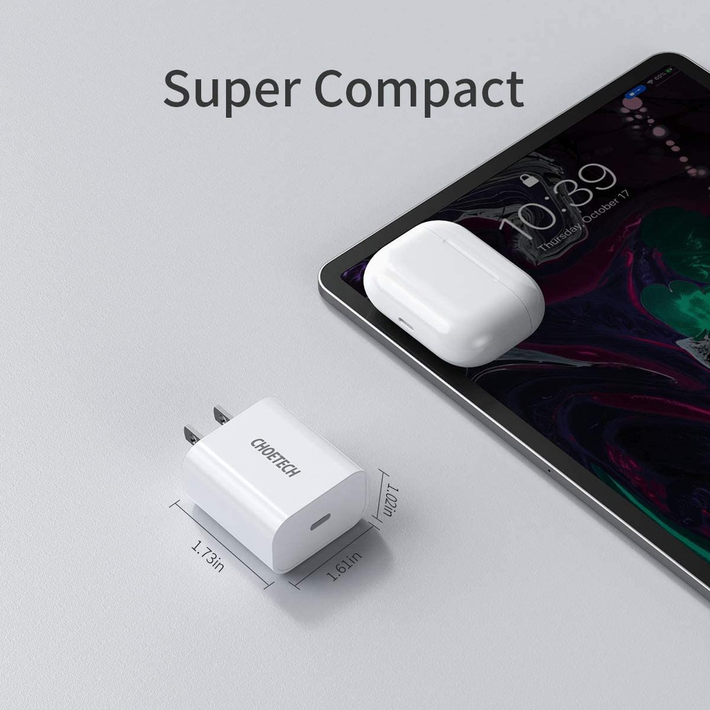 Adapter Củ Sạc CHOETECH PD 20W Chuyên Sạc Nhanh iPhone, iPhone 12 PD5005 - Hàng Chính Hãng