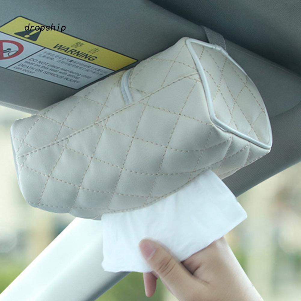 DPSP_Auto Car Vehicle Faux Leather Zipper Tissue Box Napkin Storage Paper Holder