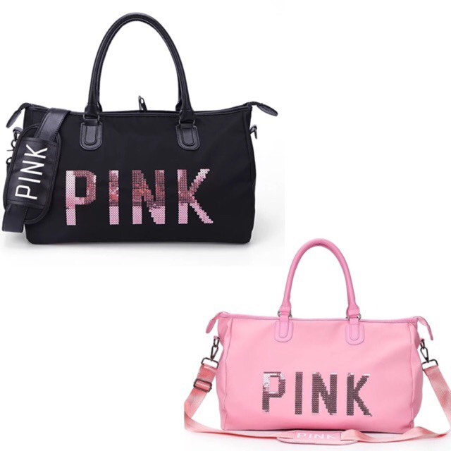Túi du lịch pink cao cấp 2 màu hồng đen