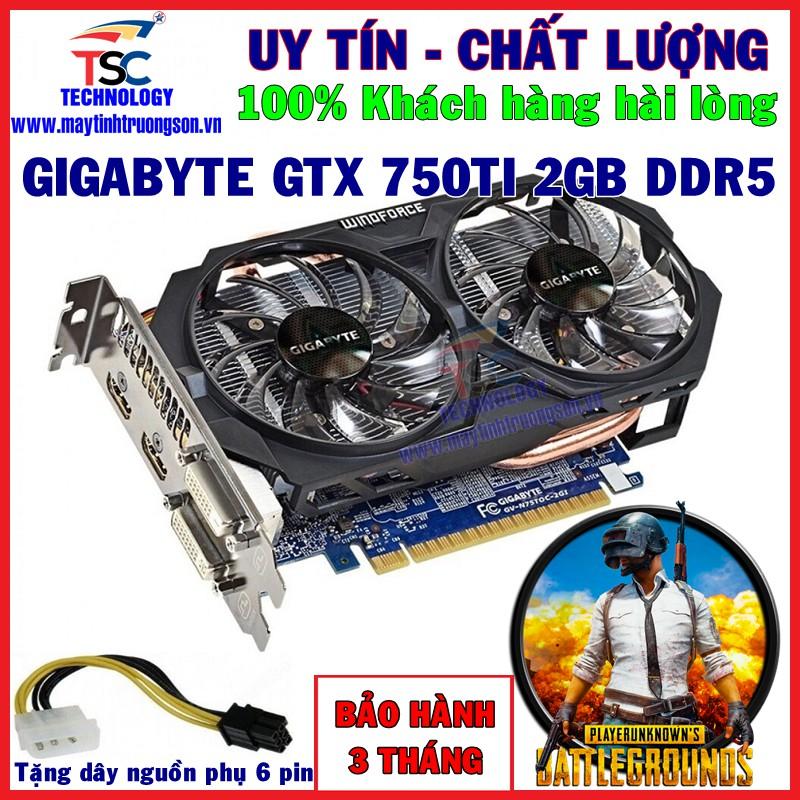 Card Màn Hình Gigabyte GTX 750 Ti 2G DDR5 2 FAN GTX 750Ti Chơi PUBG