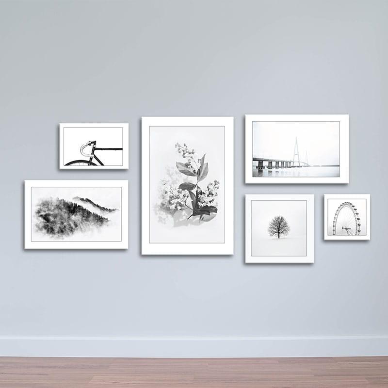 Bộ 6 tranh trang trí phong cách tối giản – màu đen trắng W1325