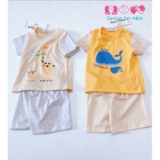 Bộ quần áo cộc tay vải cotton mỏng mát cho bé trai và bé gái