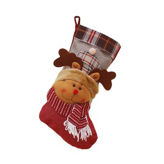 Christmas Socks Stockings Gift Bag Santa Snowman Elk