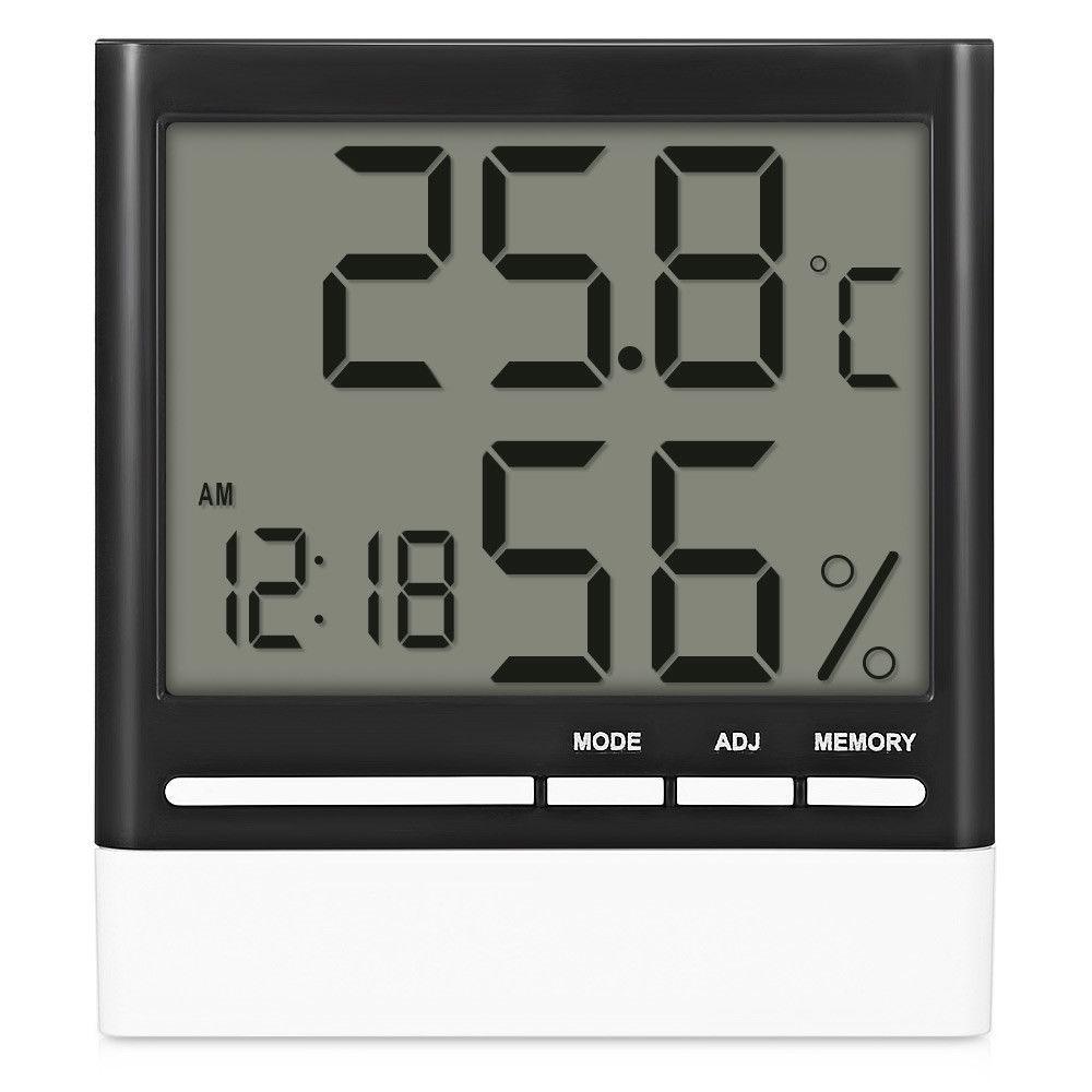 Digital LCD Display Desk Alarm Clock Calendar Time Thermometer Hygrometer 12/24H
