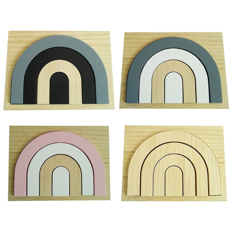 Kids Education Toys Gift Baby Children Wood Rainbow Stacking Game Building Block