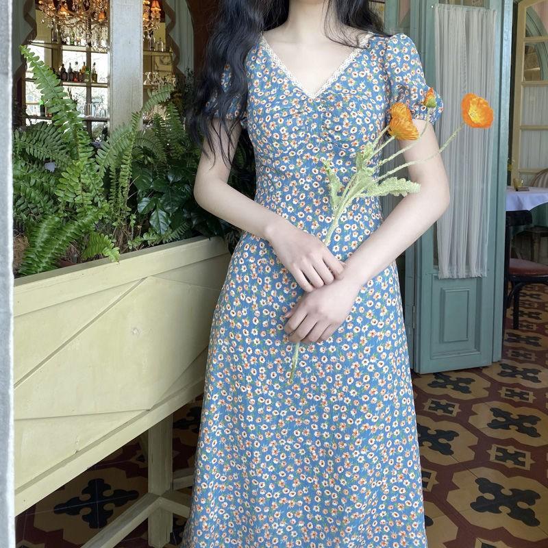 Đầm Voan Hoa Dáng Dài Phong Cách Retro Thời Trang 2020