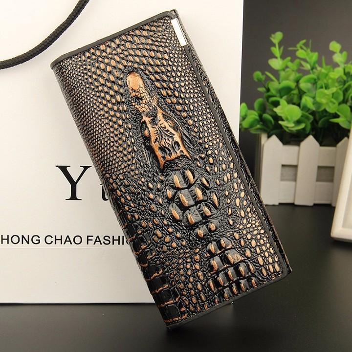 Ví da cầm tay nam nữ, ví cầm tay nam da cá sấu, Ví cầm tay nam phong cách Hàn Quốc thiết kế mới nhất