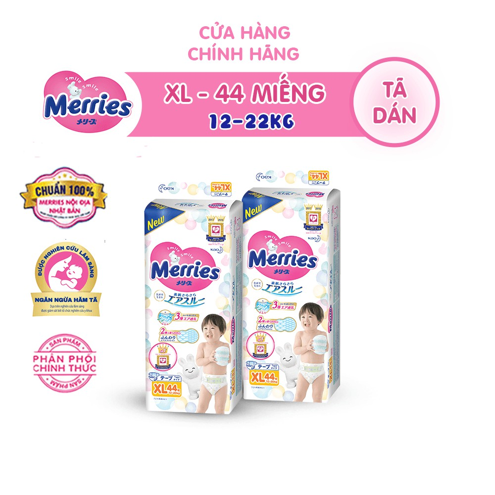 Combo 2 Tã/bỉm dán Merries size XL – 44 miếng (Cho bé 12 – 20 kg)