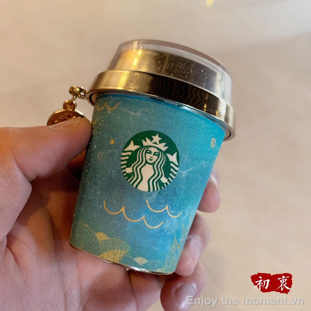 ▥✵▩Starbucks 2021 Valentine s Day Shimmering Flowing Sea Blue Goddess Mermaid Seal Keychain Pendant + Paper Tape