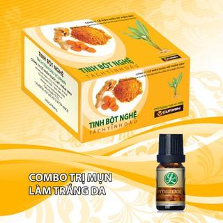 Combo 1 hộp Tinh bột nghệ Viện Khoa Học Công Nghệ VCURMIN 100g + 1 tinh dầu nghệ nguyên chất VCURMIN