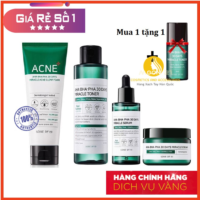 [Authentic] Bộ Trị Mụn Some By Mi AHA-BHA-PHA 30 Days Miracle Travel Kit