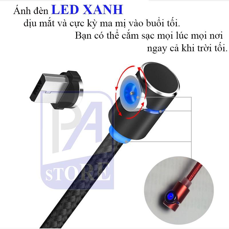 Cáp Sạc Nam Châm TOPK Siêu Phẩm AM30, Dài 1m, Chữ L Chống Vướng Tay (Type C/ Micro USB/ Lightning)