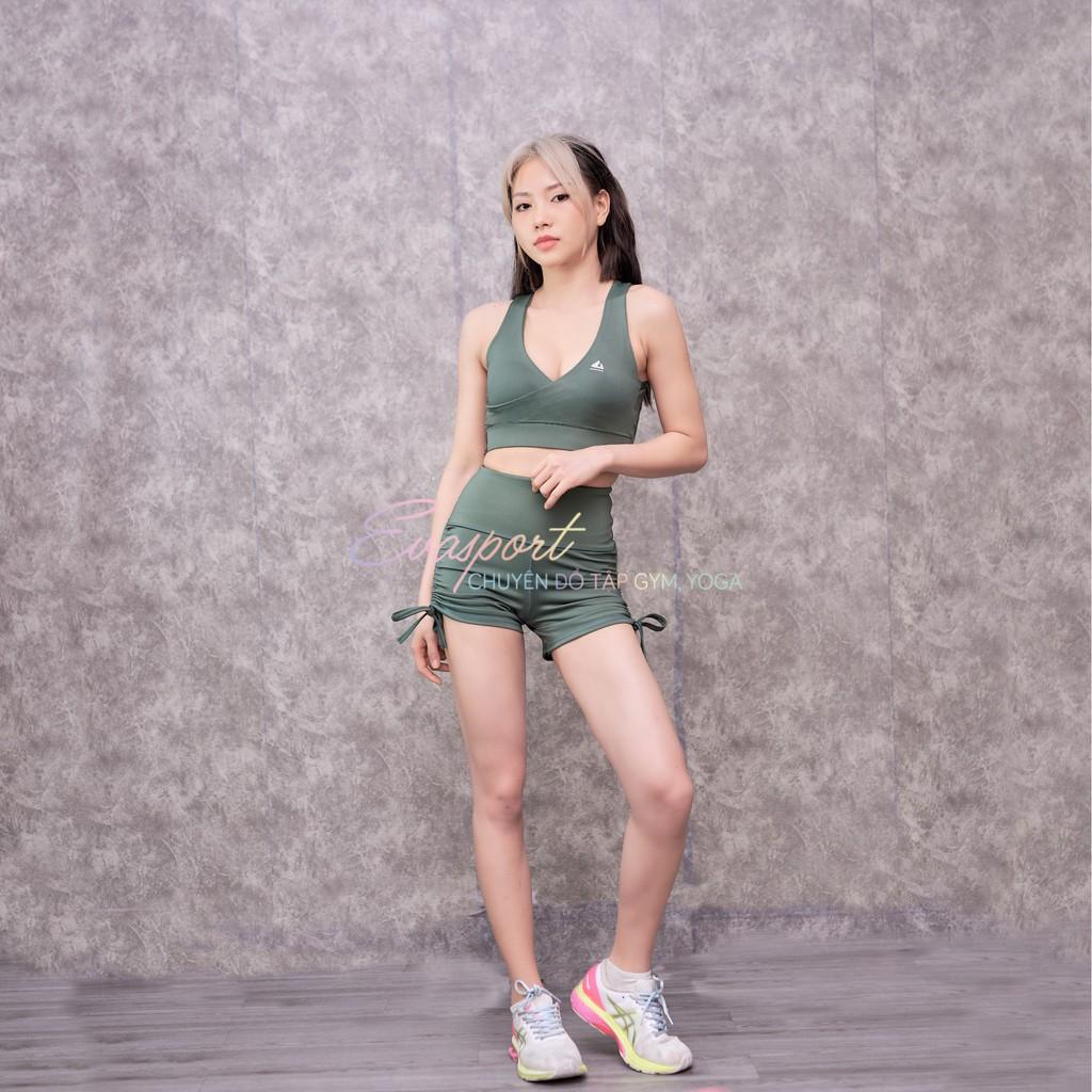 Mặc gì đẹp: Set Bộ Đồ Tập Gym Dây Rút Tập Yoga Aerobic Chạy Bộ Gồm Áo Bra Quần Đùi Dây Rút Co Giãn Tốt, Tôn Dáng Evasport