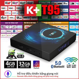 Smart TV Box / Android T95 TV Box 2 + 16G wifi băng tần kép, Bluetooth 5.0, độ phân giải 6K rõ nét, phiên bản Android 10.0