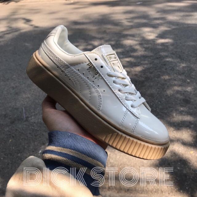Giày Giày sneaker nữ da trắng sữa bóng đế nâu cao cấp dành cho nữ ,, . | Shopee Việt Nam
