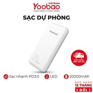 Sạc dự phòng 20000mAh Yoobao D20 -Đầu ra 2 cổng USB - Hàng chính hãng