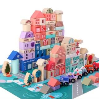 Đồ chơi gỗ xếp hình thành phố – 115 mảnh