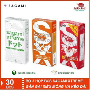 [COMBO][CHÍNH HÃNG] BỘ 3 Hộp Bao cao su Sagami Xtreme White;Loveme Orange & Feel Longtime_Gân gai, siêu mỏng và kéo dài.