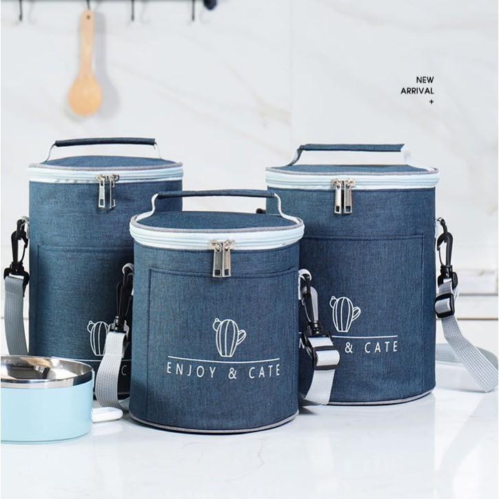 [Cao Cấp] Túi đựng đồ ăn/ đựng cơm tròn giữ nhiệt Enjoy Cate, 2 ngăn, có quai đeo, 3 lớp cách nhiệt, vải chống thấm