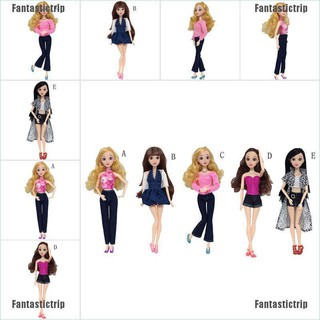 Fantastictrip Handmade Casual Dress Pants Party Mini Gown Clothes Sets For Barbie Dolls