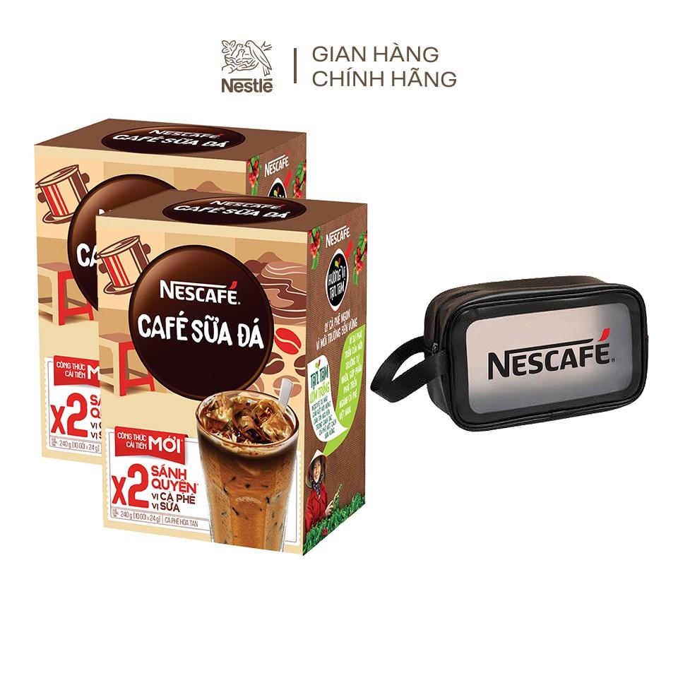 [Mã GRO1NEAPR -15% ĐH 150K] [Tặng túi đựng mỹ phẩm Nescafe] Combo 2 hộp Nescafé cà phê sữa đá (hộp 10 gói x 24 g)
