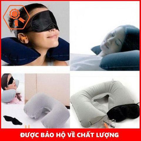 Bộ gối hơi + nút bịt tai + tấm che mắt khi ngủ (màu ngẫu nhiên)