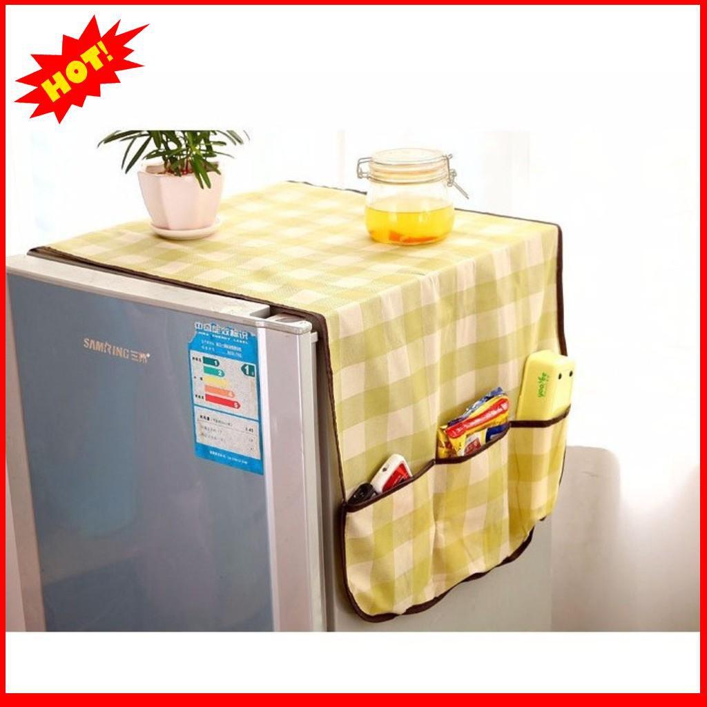 [GIÁ PHÁ ĐẢO]  Combo 2 Tấm Vải Phủ Tủ Lạnh Có Ngăn