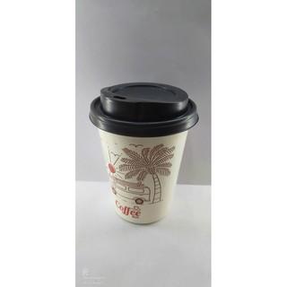 50 Ly giấy in hình Coffee Bus 14oz 360ml Có Nắp Ly giấy cafe Ly giấy 500ml Ly giấy đựng cà phê Cốc giấy thumbnail
